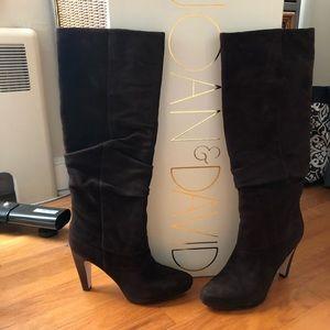 "Joan & David Dark Brown Suede 4"" boots - size 9M"
